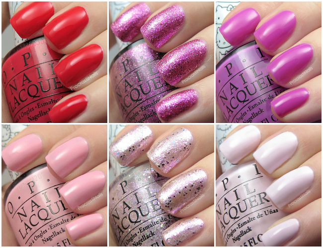 Swatches from the OPI 2016 Hello Kitty nail polish collection
