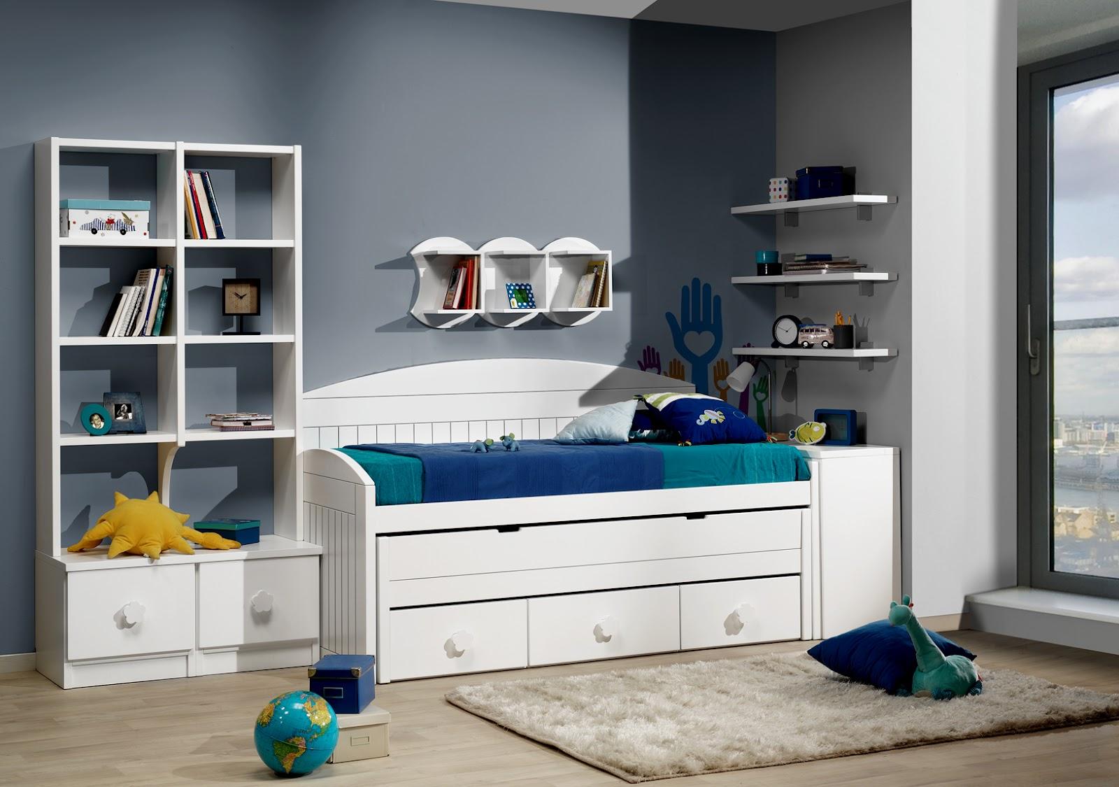 Dormitorio juvenil con cama compacto blanca con 3 cajones - Dormitorios juveniles ...