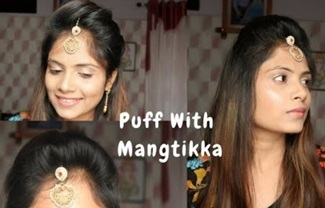 How to : Mang tikka setting with Puff For Thin Hair / 2 Easy Puff Hairstyle With Mang tikka