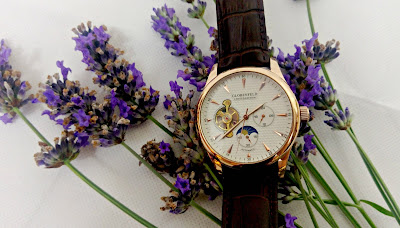 A Globenfeld watch on a bed of lavender