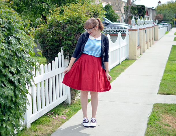Modcloth Everyday Fave Top paired with a red skirt and the Who Could Be Saddle? Shoes
