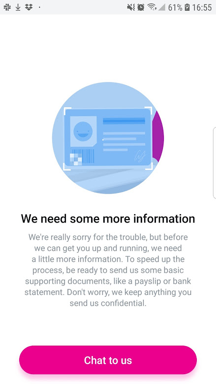 要求與客服聯繫與提供文件資料