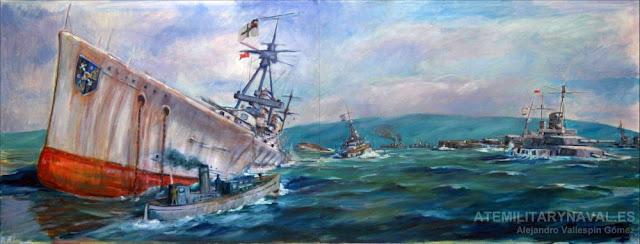 Pintura del hundimiento de la flota alemana en Scapa Flow