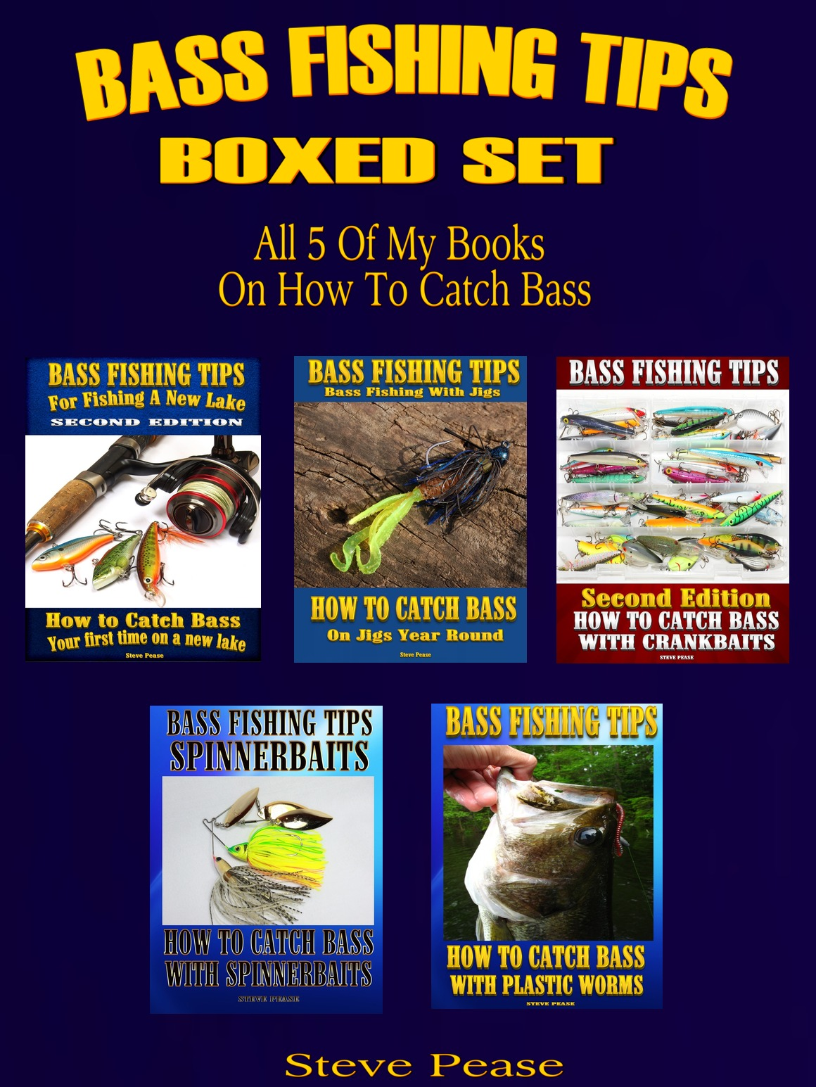 5 BOOK SET ON BASS FISHING