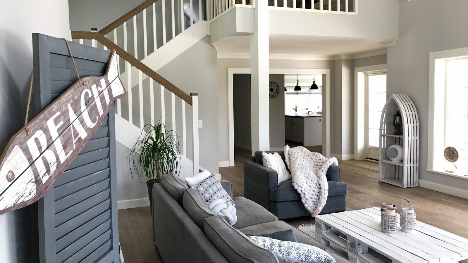 Maritimes wohnzimmer beachhouse living Schweden style einrichtung