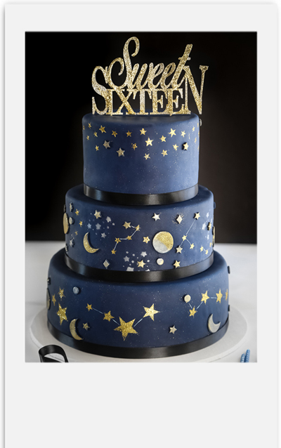 Awesome Celestial Sweet Sixteen Cake Sprinkle Bakes Personalised Birthday Cards Sponlily Jamesorg