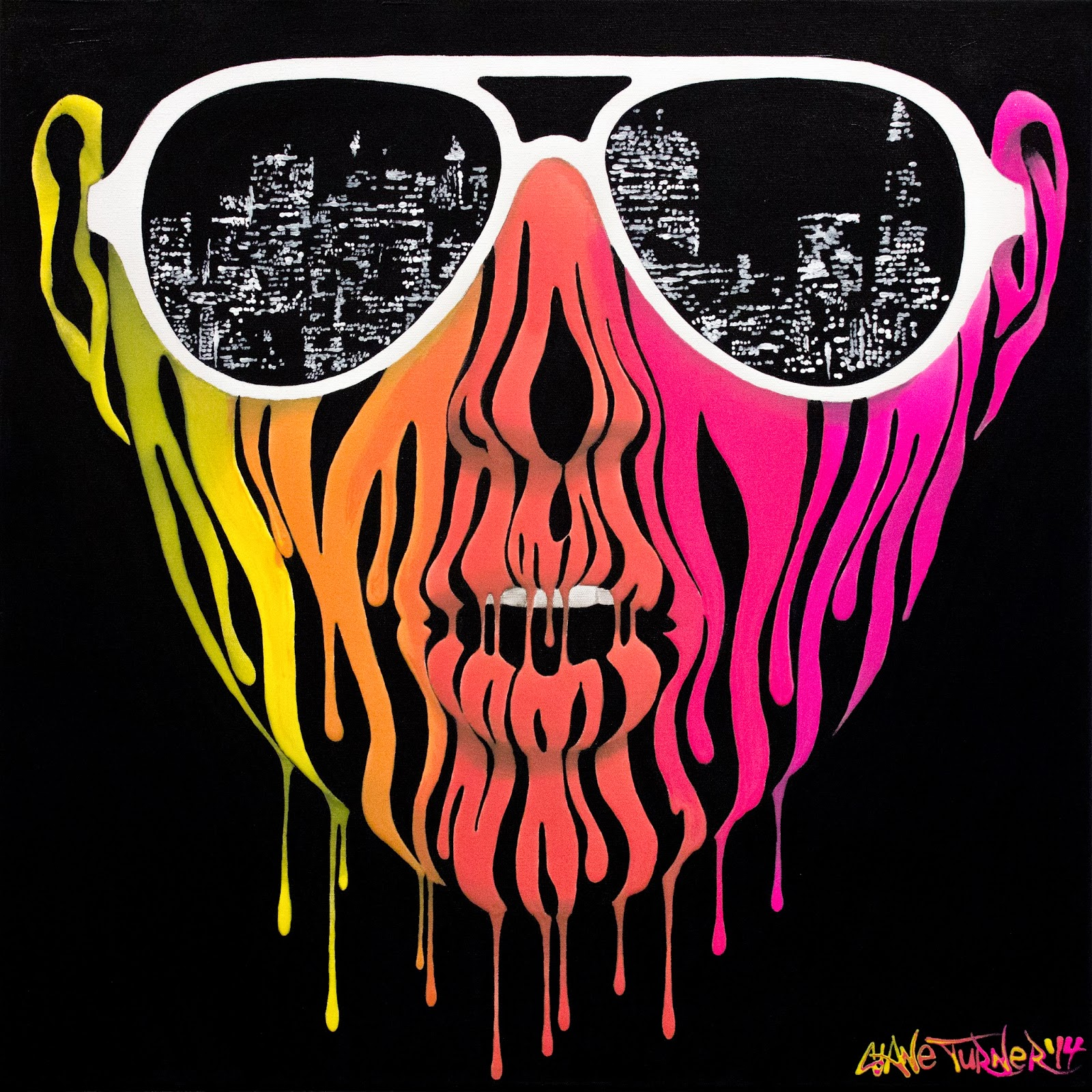Acrylic painting of a woman's face made of dripping colorful neon acrylic paint, wearing sunglasses with the reflection of San Francisco skyline made of glowing lights. Album cover for California based band Citabria was made using this painting.