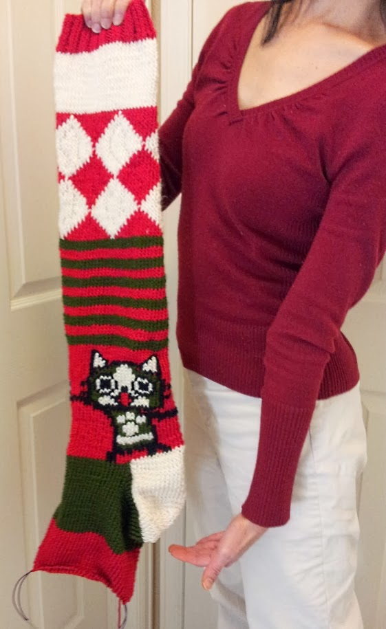 Huge Monster Hunter felyne knitted Christmas stocking - incomplete