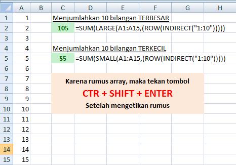 Fungsi SUMIF Penjumlahan Bilangan Terbawah