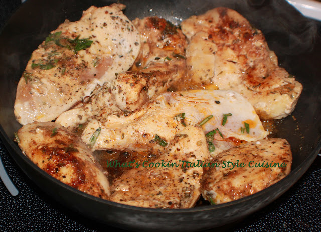 this is an herb infused sauteed chicken with rosemary, basil and has a  lemony Greek Style outside taste crusted chicken