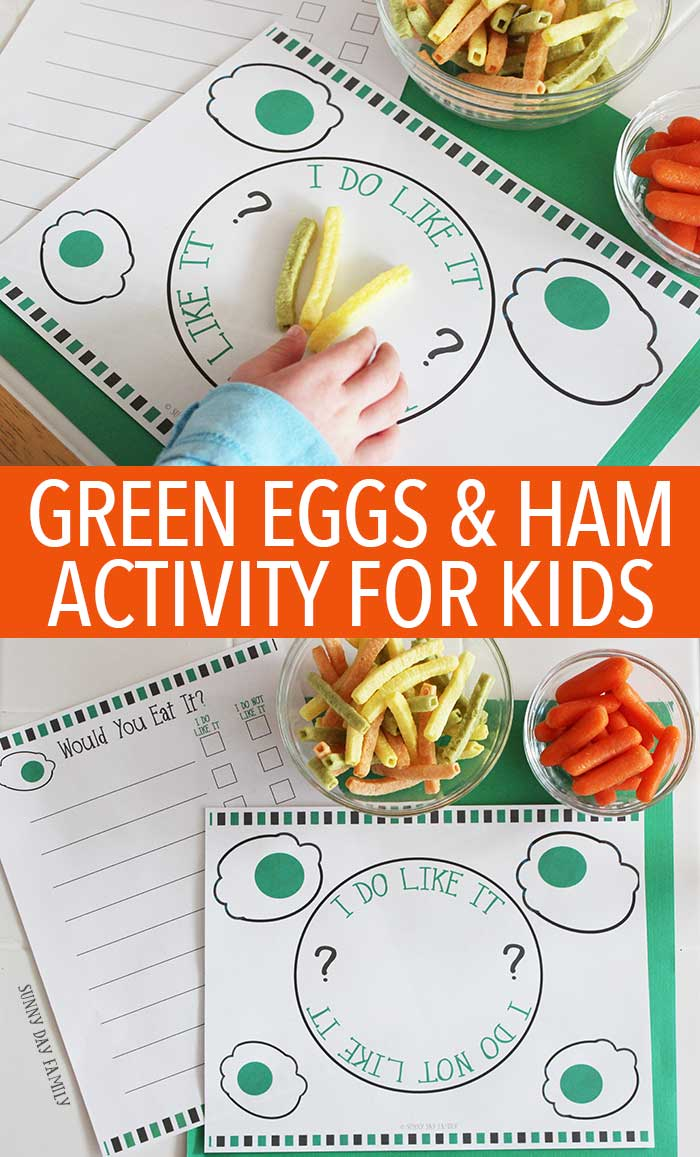 Let Sam I Am help you encourage your kids to try new food with this fun Green Eggs & Ham activity! Includes free printables to make tasting new food fun and interactive - perfect for picky toddlers and preschoolers. Dr. Seuss | Green Eggs & Ham | Free Printable