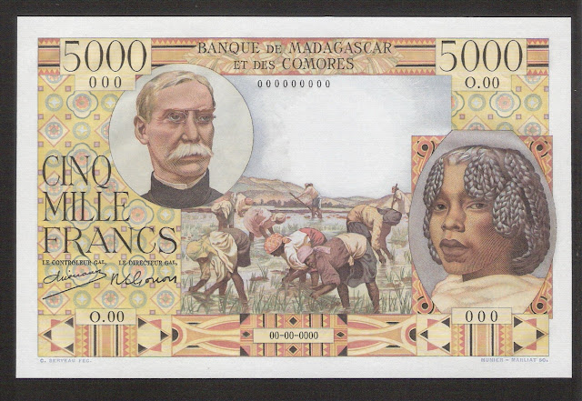 Madagascar currency collecting 5000 Malagasy Francs banknote