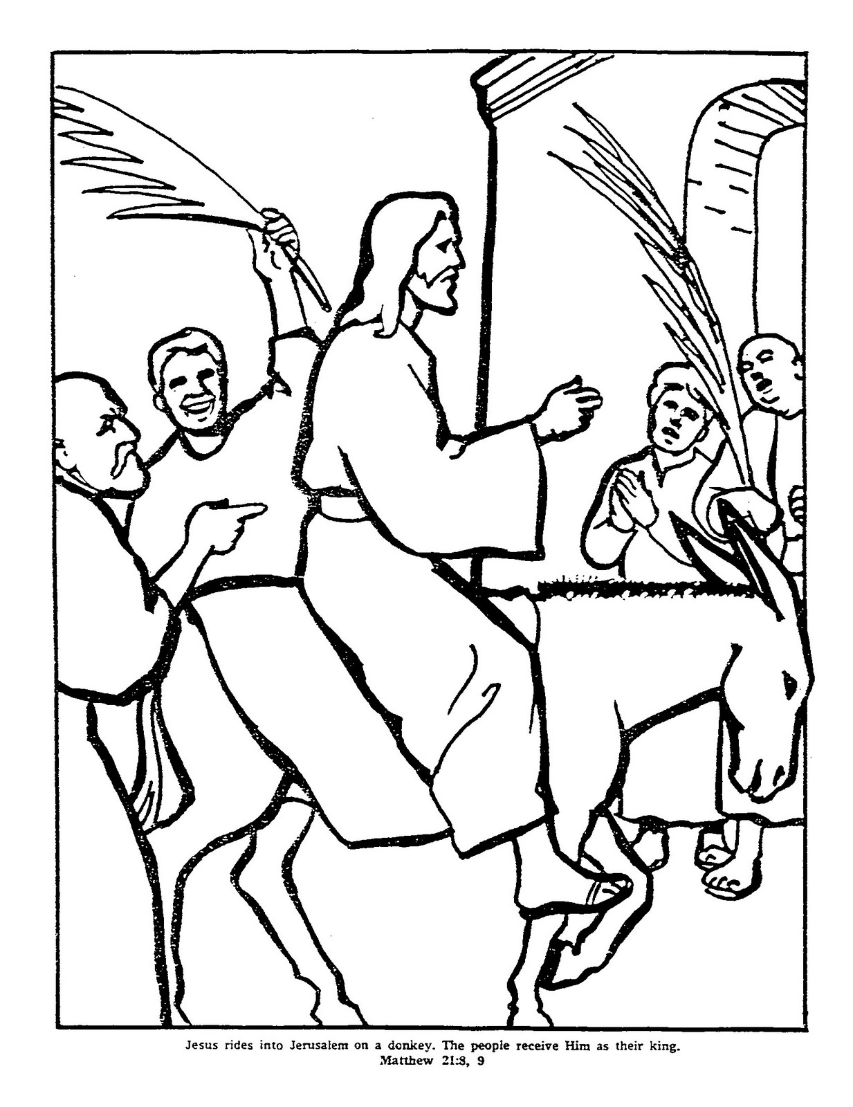 Palm Sunday Coloring Pages Preschoolers Children