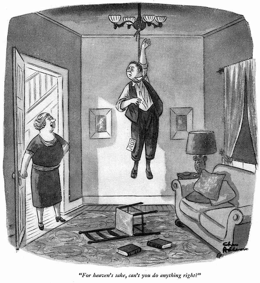 Charles Addams cartoon about marriage, suicide and criticism