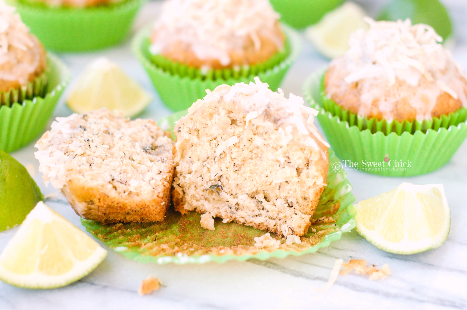 Coconut Lime Banana Muffins by The Sweet Chick