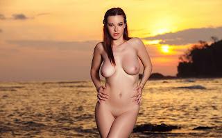 Обнаженная, девушка, красивая, грудь, мокрая, тело, вода, море, закат