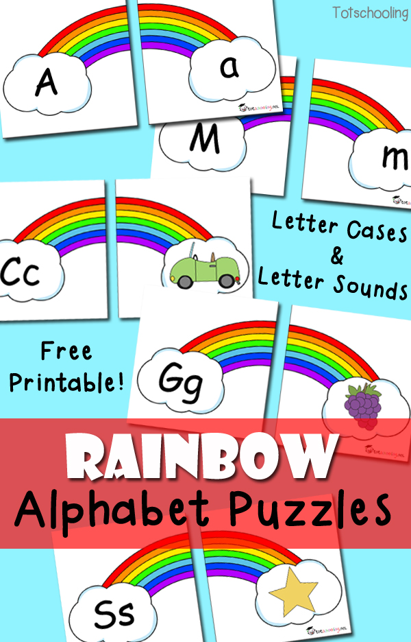 FREE Rainbow Alphabet puzzles for preschoolers to match letter cases and beginning letter sounds. Perfect for St. Patrick's Day or Spring!