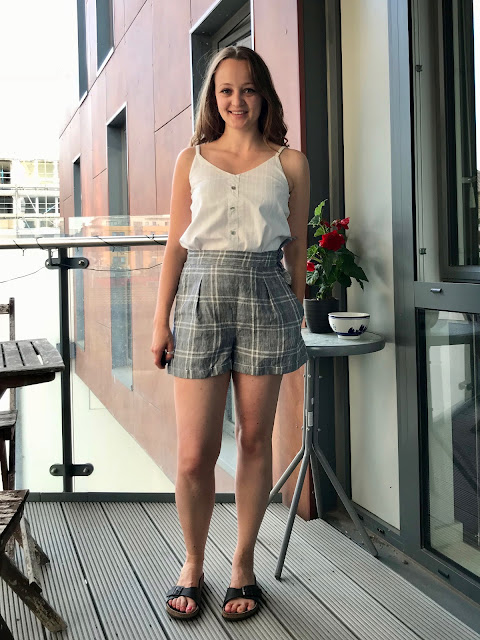 Checked Linen Flint Shorts & Embroidered Ogden Cami