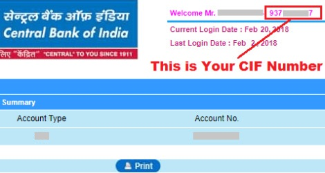 how to get cif number in central bank of india online