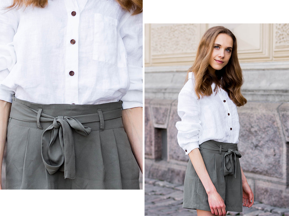 summer-fashion-2019-blogger-outfit-white-linen-shirt-green-paperbag-waist-shorts