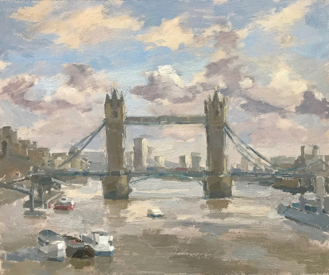 #290 Tower Bridge 10×12″ & Preparing for a Days Painting