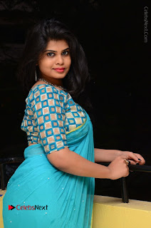 Telugu Actress Alekhya Stills in Green Saree at Swachh Hyderabad Cricket Press Meet  0059.JPG