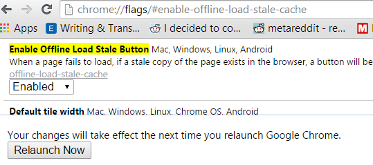 Enable Work Offline in Google Chrome