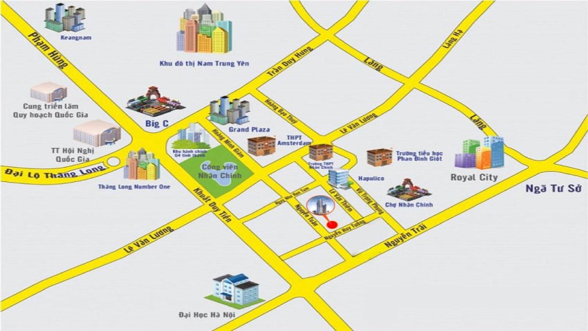 Vị trí dự án 63 Nguyễn Huy Tưởng