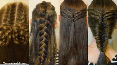 4 back to school hairstyles, cute, easy, and heatless.  Video tutorials.