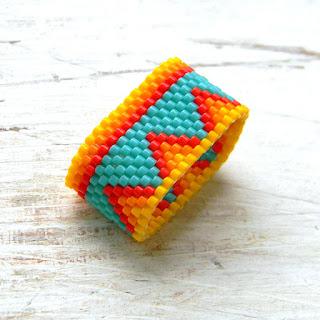 купить этно кольцо из бисера яркое летнее модное кольцо индейское