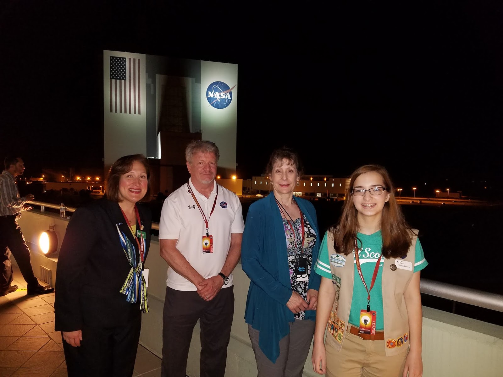 Denise Ryan, Girl Scouts of the USA; SETI Institute CEO Bill Diamond; SETI Institute Acting Director, Center for Education, Pamela Harman; and Girl Scout Kaitlyn