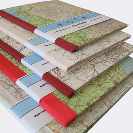 handmade notebooks with personalised map covers