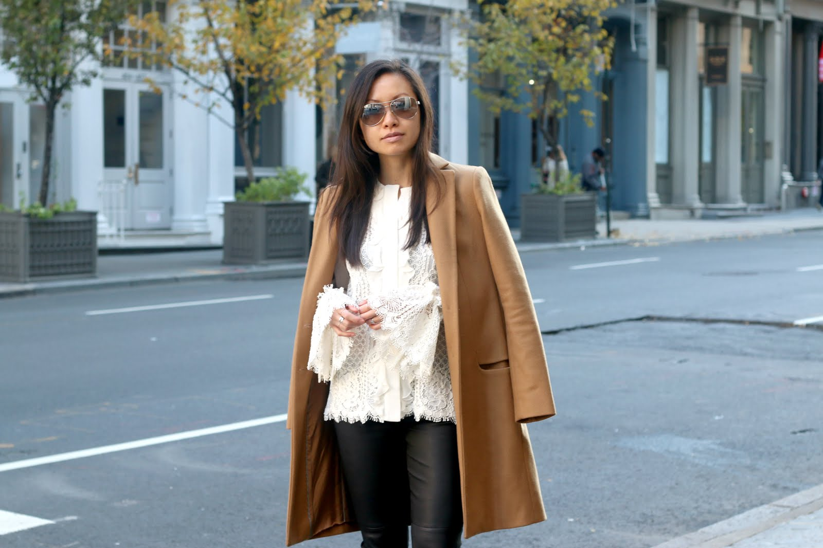 Alexis Aminila lace blouse camel coat