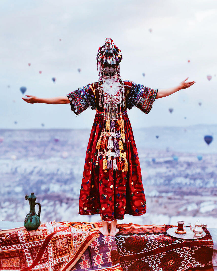 15 Pictures Of Girls In Dresses That Beautifully Match Their Backgrounds - Cappadocia, Turkey