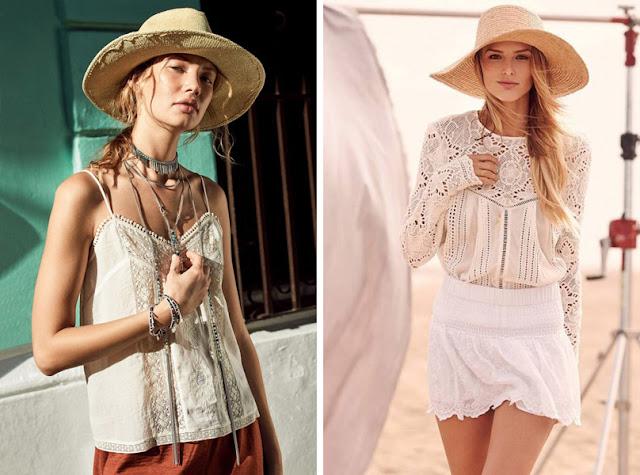 Девушка в летней широкополой шляпе в стиле бохо