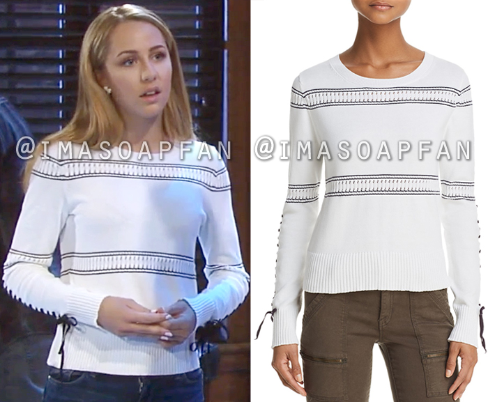 Josslyn Jacks, Eden McCoy, White and Navy Blue Stitch-Sleeve Sweater, French Connection, General Hospital, GH