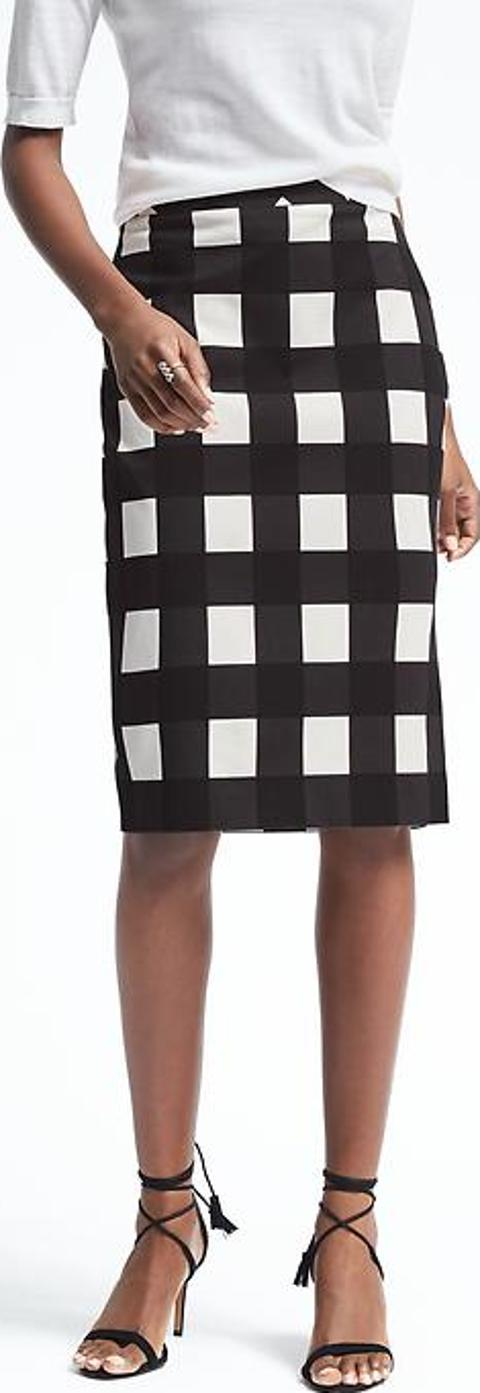 Smart black and white gingham skirt from Banana Republic