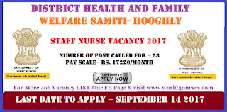 Staff Nurse Vacancy 2017-District Health and Family Welfare Samiti Hooghly