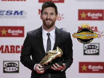 Messi Dapatkan Golden Shoe Usai Cetak Gol Terbanyak Di Top Liga Eropa