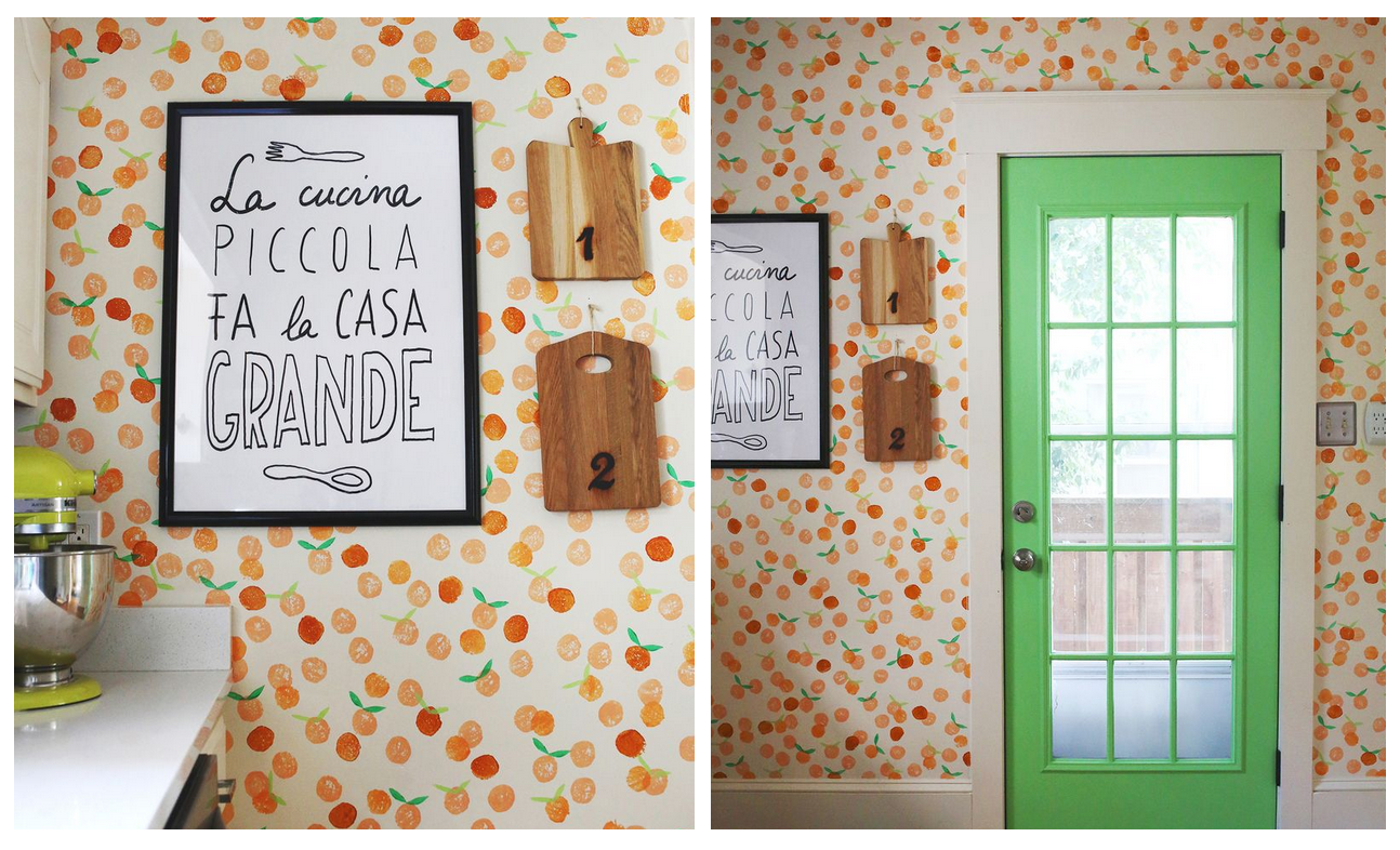 http://www.abeautifulmess.com/2013/10/hand-stamped-clementine-wall-1.html