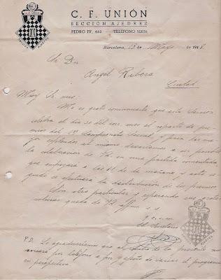 Carta de la sección de ajedrez del C.F. Unión en 1948
