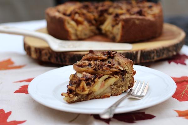 Apple Cardamom Cake with Caramelized Almonds