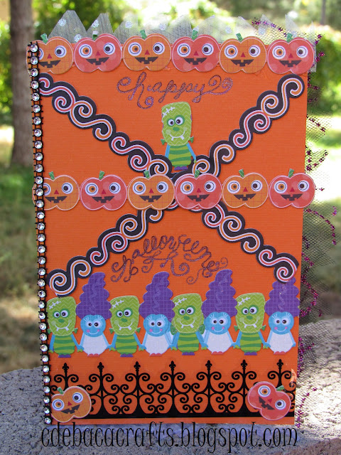 Happy halloween card with pumpkins and monster friends featured on CdeBaca Crafts blog.