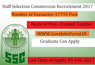 17,700+ Trained Graduate Teacher Posts Under Staff Selection Commission 2017