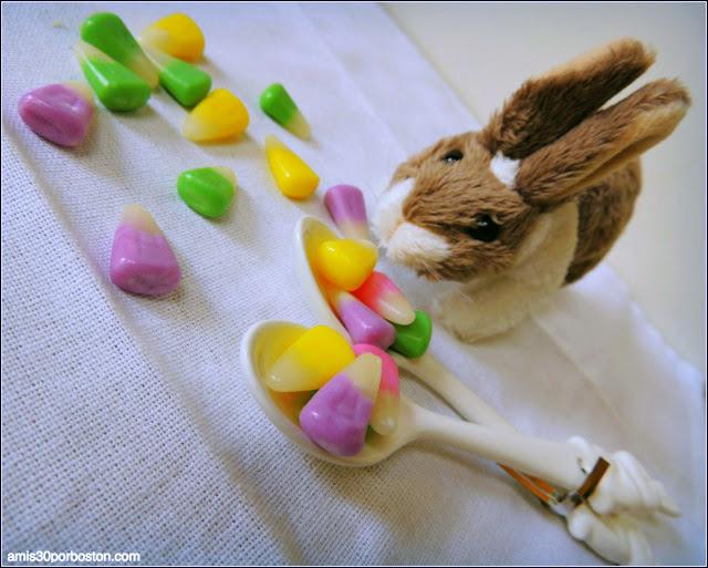 Conejo de Peluche y Candy Corn Típicos de Easter