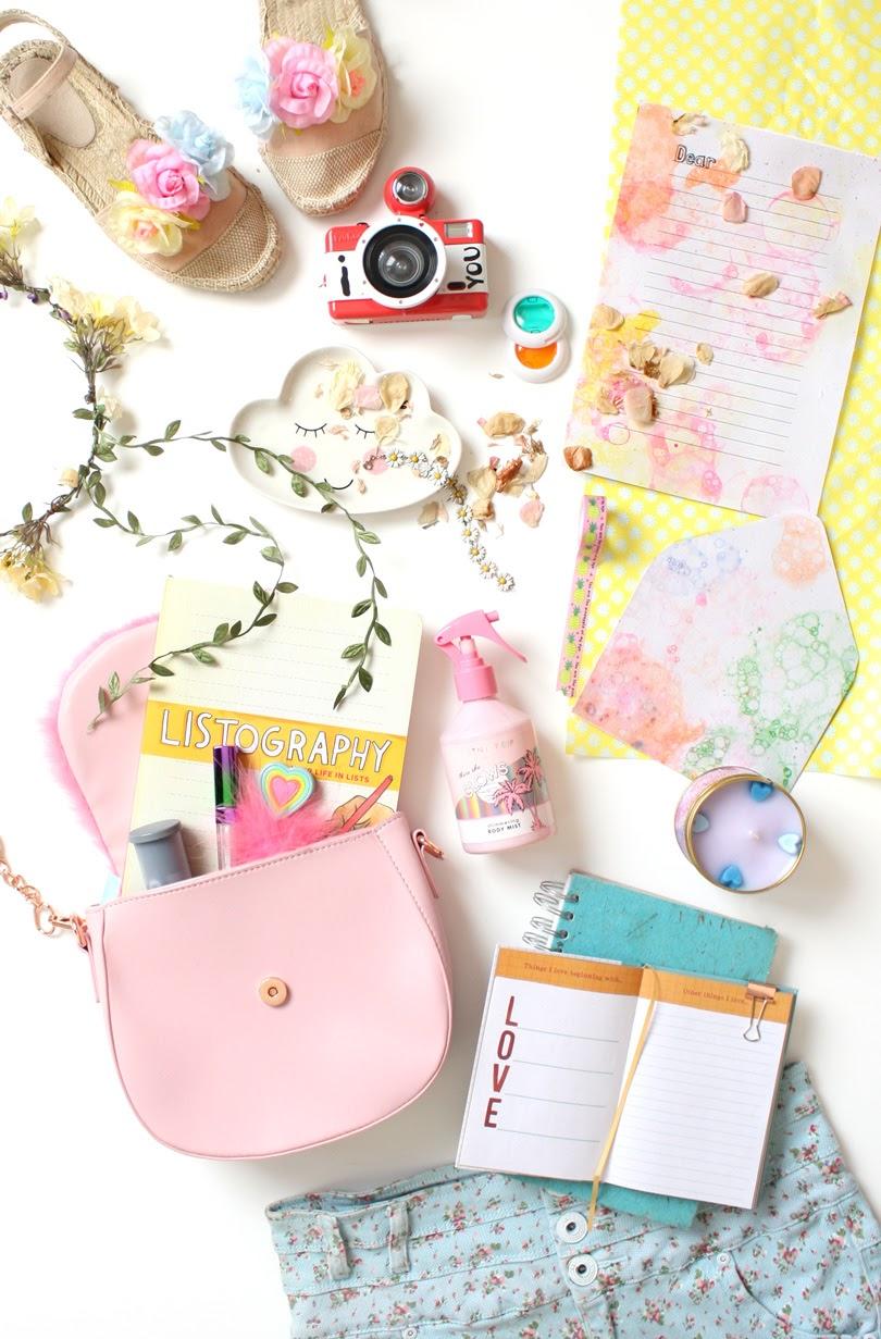 flatlay lifestyle journal summer hobbies