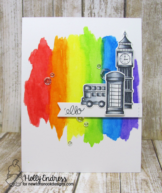 'ello Rainbow Card by Holly Endress | Newton Dreams of London Stamp set by Newton's Nook Designs #newtonsnook