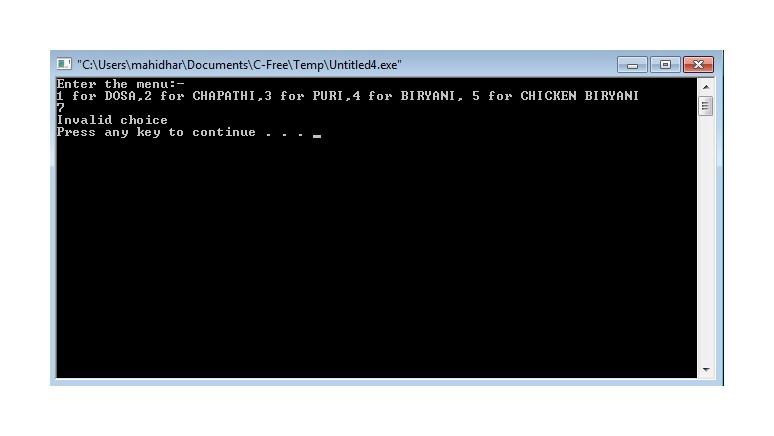 Switch Case Program Output