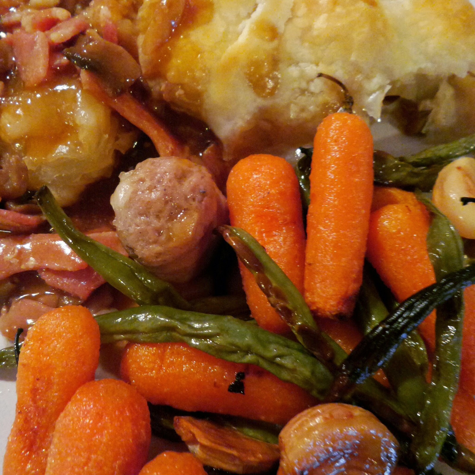 Sausage Pie with Carrots and Green Beans