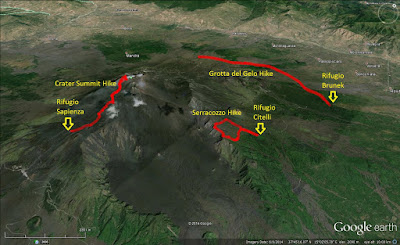 Map showing three Etna hikes we took